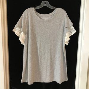 Lane Bryant Heather Gray Top Lace Sleeves 18 20